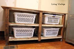 Surprise! New Laundry Room Cabinets, built using reclaimed wood - Living Vintage