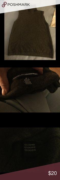 Cashmere turtleneck Charcoal cashmere high neck sleeveless top ellen tracy/linda allard Tops Tank Tops