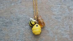 Honey, Hive ,Bee Necklace, Handmade Nature Inspired Polymer Clay Necklace