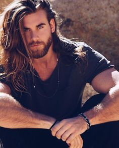Have a good day. Brock O'Hurn ~ long hair and beard style. This man is gorgeous. I think long hair suits him best.