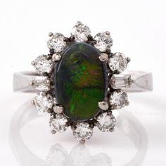 Estate Opal Diamond Cocktail Gold Ring Item # 646005