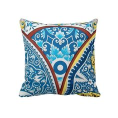 Antique Vintage French Floral Ceramic Design Blue Throw Pillows #frenchdesign #ancientpattern #iconographique