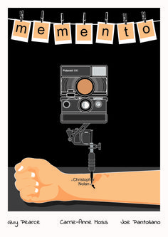 Memento alternative movie poster print available in 4 sizes. Minimal Movie Posters, Cool Posters, Film Posters, Movie Prints, Poster Prints, Vintage Movies, Vintage Posters, Memento Movie, Carrie Anne