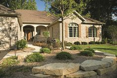 Home Exteriors: Classic ranch home with some beautiful landscaping.
