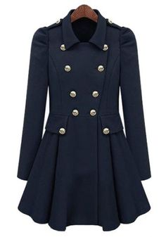 ++ Navy Blue Pleated Puff Sleeve Trench Coat