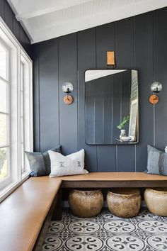 I keep thinking about how to add built in bench seating / hang space into our living room or den. Love the idea of little nooks to hang throughout the house Home Design, Home Interior Design, Interior Ideas, Design Design, Porch Interior, Interior Sketch, Interior Colors, Interior Plants, Design Hotel