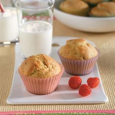 Banana & Peanut Butter Muffins Recipe Breads with all-purpose flour, baking powder, baking soda, Country Crock® Spread, Skippy Creamy Peanut Butter, sugar, large eggs, milk, bananas, salt