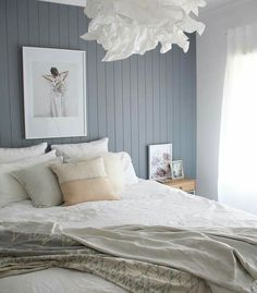 easycraft tongue and groove wall panelling in white bedroom with blue feature wall Bedroom Panel, Feature Wall Bedroom, Bedroom Inspirations, Home Bedroom, Bedroom Interior, Wall Decor Bedroom, Bedroom Wall, Master Bedrooms Decor, Bedroom Decor