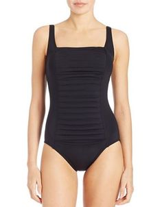f161e1c2fc482 ShopStyle: Calvin Klein Pleated Front One-Piece Swimsuit (Black ...