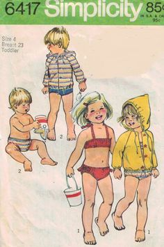 Simplicity 6417 Vintage Toddlers Bathing Suits by ScarletBubbles