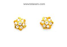 Gold Earrings for Women in 22K Gold with Cz - GER6637 - Indian Jewelry from Totaram Jewelers