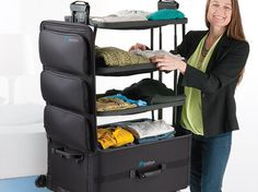A suitcase that expands into a shelf.