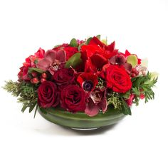 Designed by Bloom by Anuschka. Red flower arrangement with roses, orchids, anemones, hypericum and amaryllis. Red Flower Arrangements, Flower Centerpieces, Flowers For Algernon, Flower Identification, Tea Party Bridal Shower, Christmas Flowers, Flowers For You, Ornamental Plants, Christmas Centerpieces