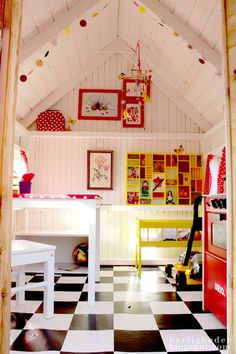 Super cute idea to repurpose the shed. Cheap laminate flooring and some white paint make for a dramatic difference. Playhouse Interior, Backyard Playhouse, Playhouse Ideas, Inside Playhouse, Playhouse Furniture, Cubby Houses, Play Houses, Play Spaces, Kid Spaces