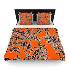 """Vikki Salmela """"Blossom"""" Orange Black Woven Duvet Cover   KESS InHouse #new #blossom #floral #garden #orange #black #white #modern #contemporary #art on #woven #soft #duvet #cover for #home #decor #apartment #bed #bedroom #coordinating #pillows #rugs #shower #curtain!  By #vikkisalmela #polkadotstudio from #KessInHouse"""