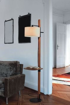 Wooden Lighiting Inspirations - Stehleuchte Design / Natural Home Decor - Diy Floor Lamp, Tall Floor Lamps, Unique Floor Lamps, Wooden Floor Lamps, Floor Lamp With Shelves, Contemporary Floor Lamps, Black Floor Lamp, Diy Luminaire, Torchiere Floor Lamp