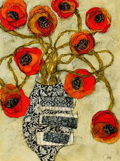 """CLEMENTINE  48""""x36""""  Original Mixed Media Paper Collage on Stretched Canvas  SOLD : Florals : Judge Fine Art : Heather Judge"""