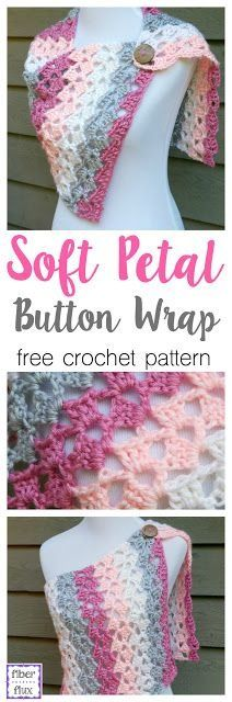 Soft Petal Button Wrap, free crochet pattern + full video tutorial from Fiber Flux!