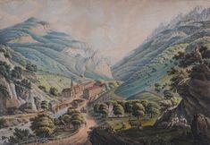 """Joseph Neuhauser, Sibiu 18th-19th c. """"Herkulesbad zu Mehadia/ Băile Herculane"""" (1815)"""