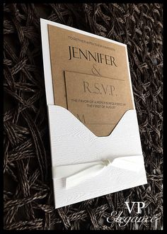 Country Wedding Invitations, Pocket Invitations with a rustic chic touch