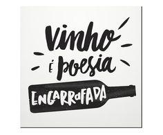 Placa Decorativa Vinho É Poesia - 20x20cm | Westwing - Casa & Decoração