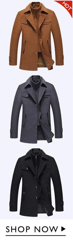 924cb8a3e2 Winter Business Casual Doppelkragen verdicken warme reine Farbe Wolle  Mantel für Männer