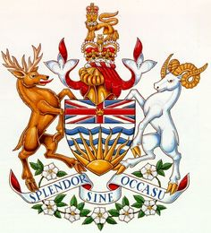Emblem information about British Columbia, B., BC, Canada, Coat of Arms British Columbia, Rocky Mountains, Pacific Dogwood, Vancouver, West Coast Canada, Canadian History, O Canada, Family Crest, Flag