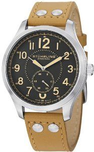 Stuhrling Original Men's 486.3315E54 Leisure Eagle Hawkeye Swiss Quartz Beige Leather Strap Watch Stuhrling Original. $94.99. Grey dial with beige printed Arabic numerals and seconds sub dial at six o'clock position. Protective Krysterna crystal on front and decorated case back. Brushed finish stainless steel round shaped case with knurl edge crown. Water-resistant to 100M (330 feet). Beige matte finish genuine leather strap with stainless steel tang buckle