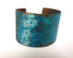 Purple Patina & Verdigris Copper Cuff  Small