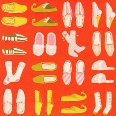 wouldn't this make adorable pj pants? Santas Slippers in Red (Alexander Henry House Designer - Santas Village)