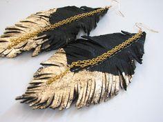 Orecchini piuma  pelle piuma gioielli orecchini di MargoMagicJewel