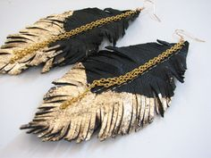 Feather Earrings  Leather Feather Jewelry by MargoMagicJewel