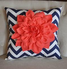 Coral Dahlia on Navy and White Zigzag Pillow -Chevron Pillow-. $43.00, via Etsy.