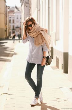 White sneakers, loose linen button down