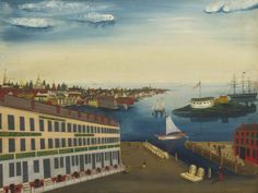 """American Fireback, View of Boston, 1825, Oil on Pine Panel, original paint To be sold at Sotheby's Auction """"Visual Grace: Folk Art Collectio..."""