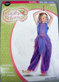 Girls Garden Genie Costume by Garden Charms Purple Pink, Medium New…