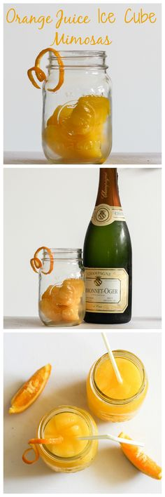 Grown-Up Mimosa – Champagne with Orange Juice Ice Cubes