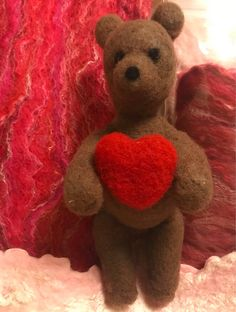 Excited to share the latest addition to my #etsy shop: Valentines Day Gift for Her Needle Felted Bear with Heart and Wet Felted Tussah Silk and Fine Merino Wool Scarf Free Shipping Unique #fiberart #art #feltteddybear #teddybear #valentinebear #valentinesday #needlefelt #feltanimal #feltedbear