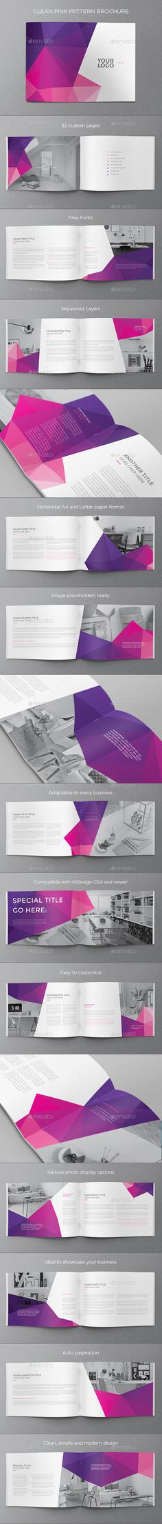 Clean Pink Pattern Brochure - Brochures Print Templates