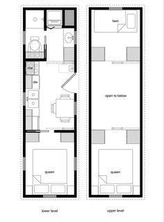 Tiny House Floor Plans with Lower Level Beds