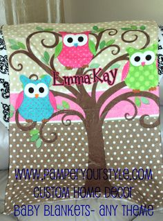 Set of owl blankets for baby girl by seidelc on etsy 6200 owl baby blanket personalized owl baby blanket bird baby blanket name owl childs blanket owl name blanket negle Choice Image