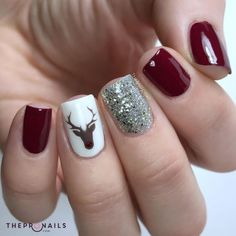 Holiday manicure with dark red nails, silver sparkle accent nail and Rudolph acc. - Holiday manicure with dark red nails, silver sparkle accent nail and Rudolph accent nail. Cute Nail Designs, Acrylic Nail Designs, Acrylic Art, Winter Nail Designs, Nail Ideas For Winter, Christmas Nail Designs, Acrylic Colors, Christmas Design, Nail Designs Easy Diy