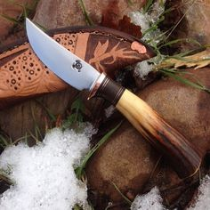 Gorgeous stag handled trout knife with custom sheath.
