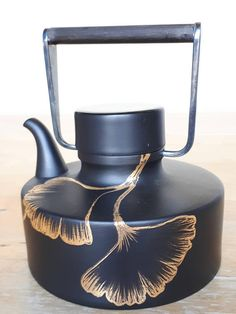 Hand-painted Rosenthal ceramic teapot Ginkgo