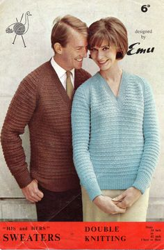 1960's VINTAGE His & Hers V Neck jumpers  34 to 42 by Hobohooks, £1.20