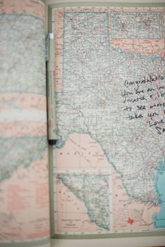 This could be cute. Vintage Atlas - Guest Book for travel theme wedding