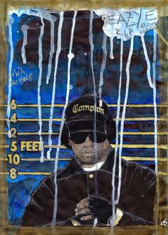 DEAD RAPPERS SERIES - Eazy E Art Print - Remebering Eazy The Hiphop Thugsta - Compton September 7, 1963 – March 26, 1995 - Free shipping thru Sunday 31 March