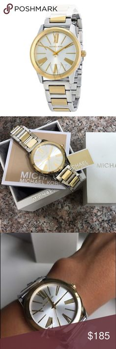 ❤️Michael Kors Hartman Two-Toned Watch❤️ Brand new! All links will come in box. 💯 Authentic The Michael Kors, Hartman series features a gold-tone stainless steel 38mm case, with a fixed gold-tone bezel, a silver dial and a scratch resistant mineral crystal.  The 38mm gold-tone stainless steel band is fitted with fold over clasp.  This beautiful wristwatch, powered by quartz movement supporting: hour, minute, second functions.  This watch has a water resistance of up to 165 feet. Michael…