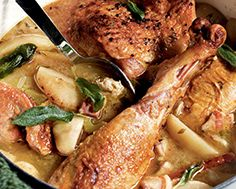 Turkey Legs with Cider & Apples Turkey Legs, Recipe Details, Foods To Eat, Turkey Recipes, Poultry, Apples, Stew, Risotto, Seafood