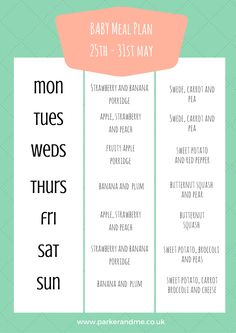 #WeaningWednesday - Baby Weekly Meal Plan - 6 months+